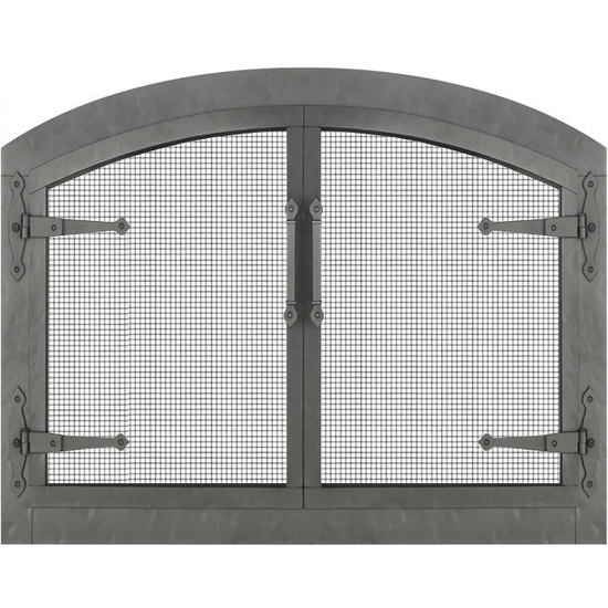 Forged Steel Laramie Arched Masonry Fireplace Door with strap hinges, mesh protection, and clear natural finish