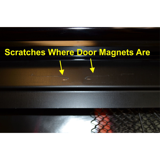 Scratches From Door Closing Magnets On Closing Bar ( Hidden When Doors Are Closed)