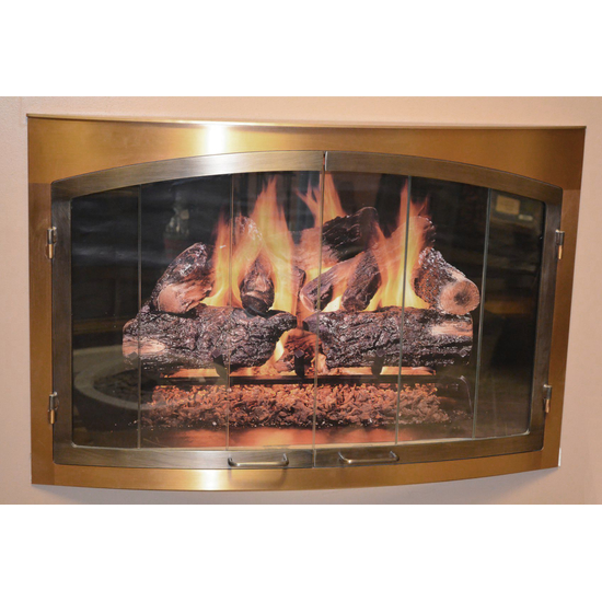 Satin Brass Bay Window Fireplace Door