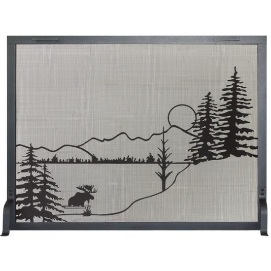 Alaskan Evening Decorative Fireplace Screen shown in Charcoal powder coat finish