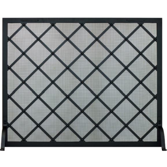 Classic Courtyard Decorative Fireplace Screen shown in matte black powder coat finish