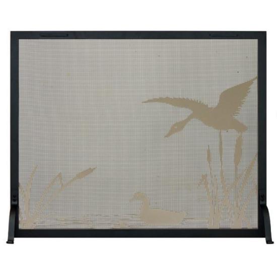 Mallard Pond Decorative Fireplace Screen - frame shown in textured black, design in champagne