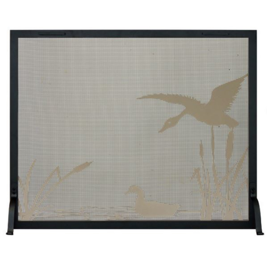 Mallard Pond Decorative Fireplace Screen - frame shown in textured black, design in champagne
