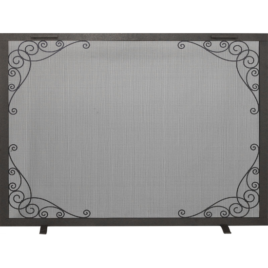 Scroll Decorative Fireplace Screen in Silver Mist powder coat finish