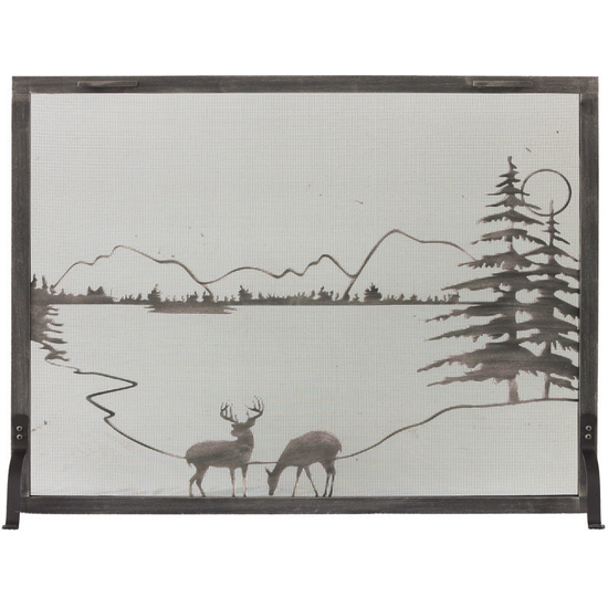 Whitetail Decorative Fireplace Screen shown in Burnished Bronze premium finish