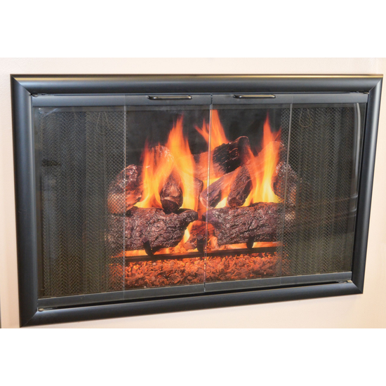 Horizon Glass Fireplace Door Flat Black