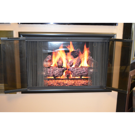 Horizon Fireplace Door Fully Open