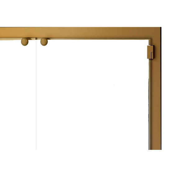 All Glass Legend Masonry Fireplace Door Top Right Corner Detail in Candlelight Brass
