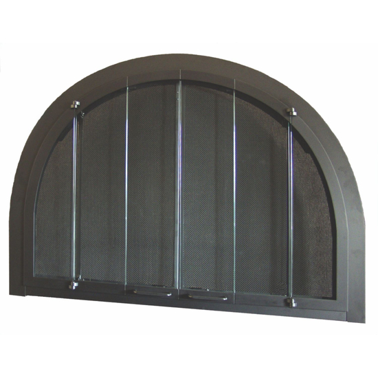 Full Arch in Matte Black With Fixed Side Panels