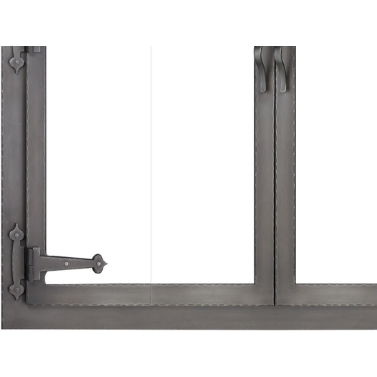 Hammered Edge Fireplace Glass Door Forged Iron Bottom Left Corner