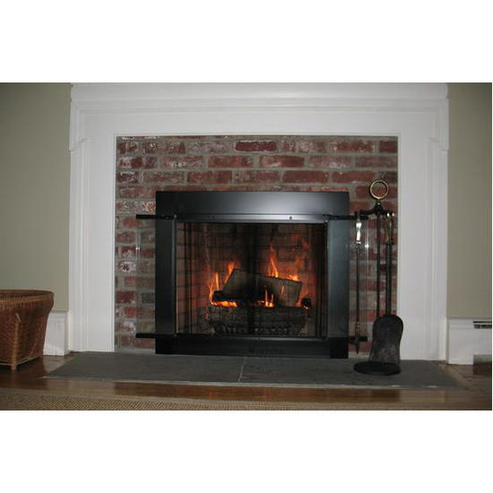 Customer Photo! Slimline fireplace door in flat black