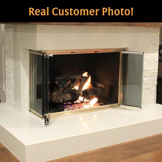 Huntress Frameless Corner Fireplace Door