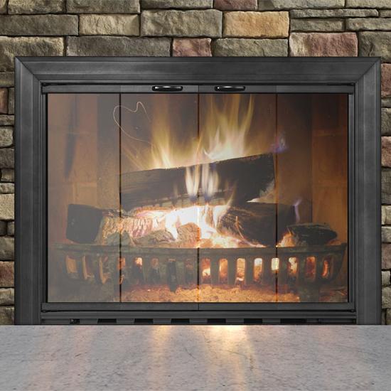 Sion Fireplace Door in Textured Black