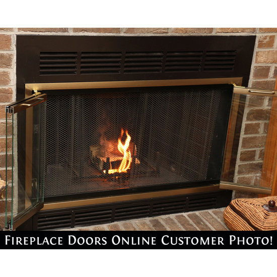Real customer photo of their Belmont fireplace door installed (ordered fireplace curtain mesh separately)!