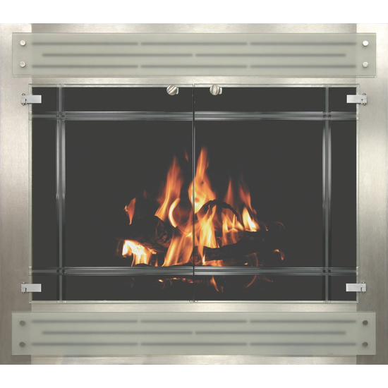 Contemporary Fireplace Reface in Clear Stainless Steel