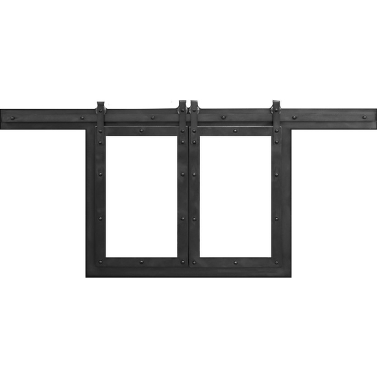 Paterson Sliding Fireplace Door in Matte Black