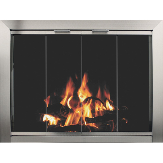 Avaleria Masonry Fireplace Door in Brite Nickel with no draft assembly