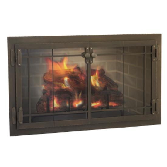 Craftsman Fireplace Door in Classic Bronze