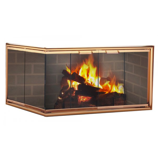 This corner fireplace door adds a touch of sophistication to your modern home!