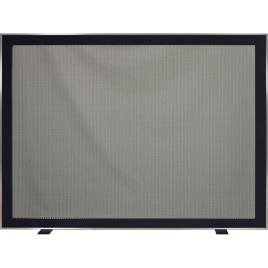 Biscayne Modern Fireplace Screen shown with perforated mesh screen