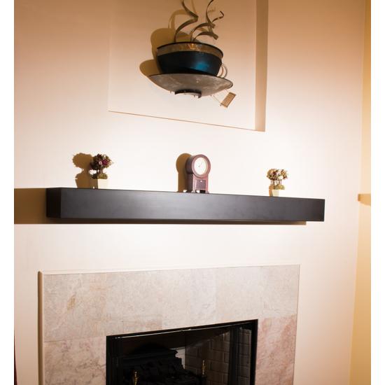 Steel Fireplace Mantel Shelf - custom length in matte black