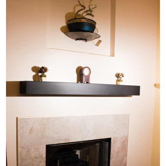 Steel Fireplace Mantel Shelf - custom length in matte black