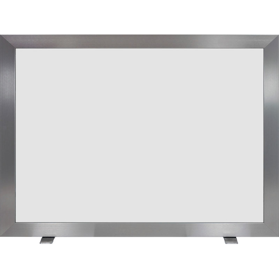 Pinnacle Glass Contemporary Single Panel Fireplace Screen shown in Brite Nickel anodized finish with Grey tempered glass
