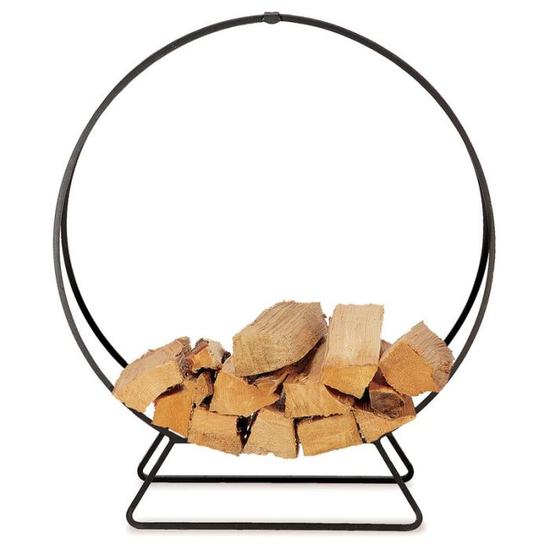 Solid Steel Log Hoop In Matte Black Finish 48 Inch
