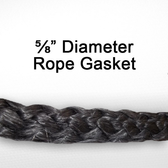 "5/8"" black graphite impregnated rope gasket for wood stoves."