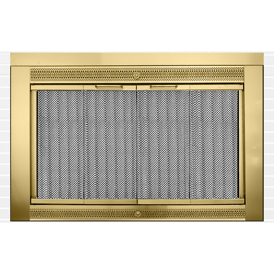 Classic Masonry Fireplace Door in Plated Antique Brass Finish