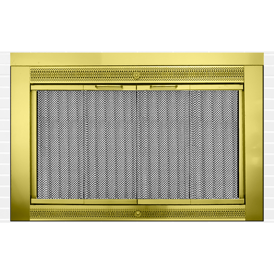 Classic Masonry Fireplace Door in Plated Polished Brass Finish