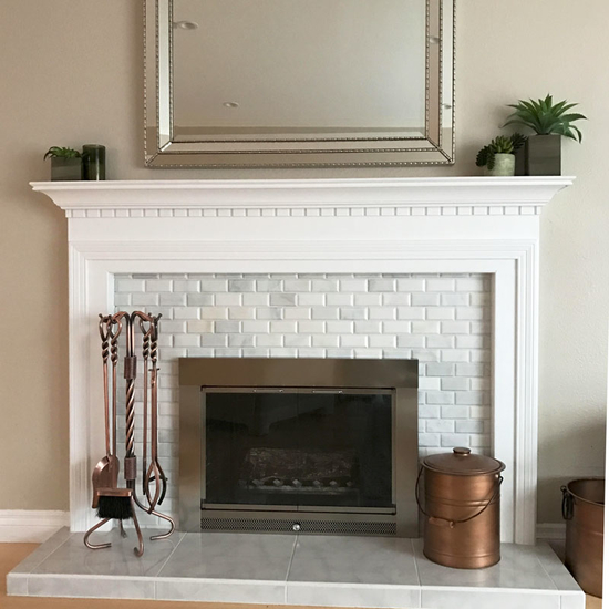 Real customer photo!  Chris C says he loves his new Slimline fireplace door in satin nickel!