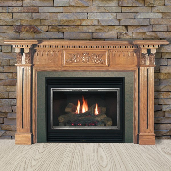 The Avondale fireplace mantel made with red oak wood with a medium stain.