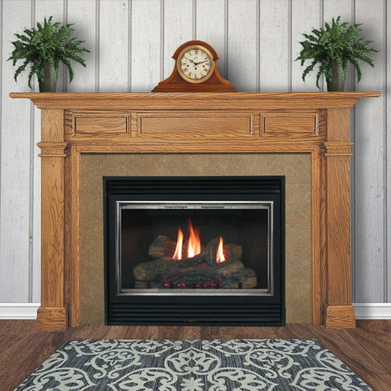 Beaumont wooden mantel in red oak with a TM Medium Stain Finish.