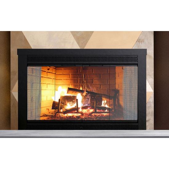 Sentry Premiere Track Fireplace Door in Flat Black