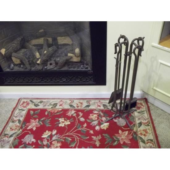 5 Piece Brown Fireplace Tool Set