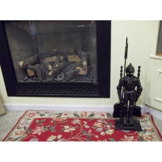 5 Piece Dark Bronze Knight Fireplace Tool Set