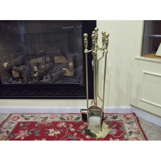 5 Piece Polished Brass Fireplace Tool Set