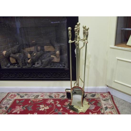 5 Piece Polished Brass Fireplace Tool Set