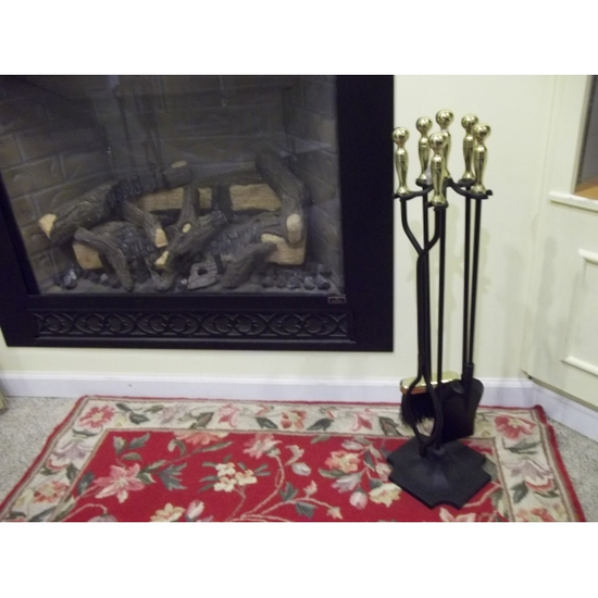 5 Piece Black with Brass Fireplace Tool Set