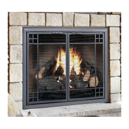 Prairie Design Direct Vent Screen with operable doors in Natural Iron