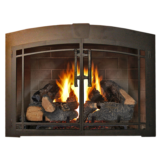 Buckingham Arch Makeover Fireplace Door in Textured Black