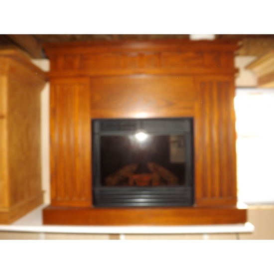 Faux Fireplace with Oak Surround