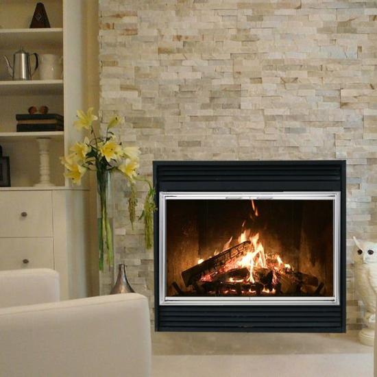 Shadow Zero Clearance Fireplace Door in Satin Nickel