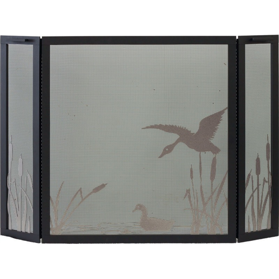 Mallard Pond Triple Panel Fireplace Screen - frame shown in Textured Black, design in Champagne