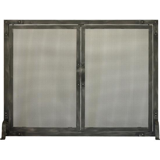 Chesapeake Working Doors Fireplace Screen shown in Burnished Bronze premium finish