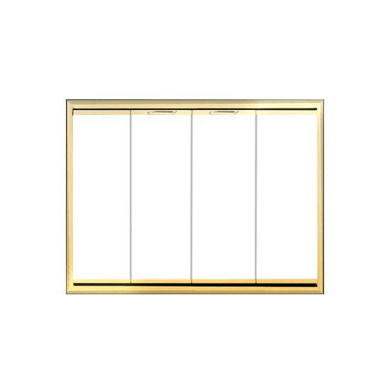 Horizon fireplace door with bifold doors in polished brass.