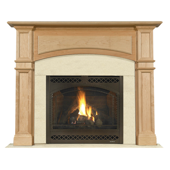 Arched Kingscote Mantel - shown here in Maple with a clear coat finish