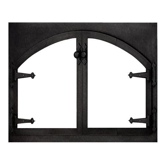 Blacksmith Arch Conversion Zero Clearance Fireplace Door - Brite Black