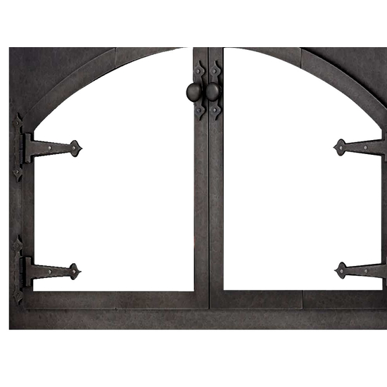 Knob handles on the Blacksmith Arch Conversion ZC Fireplace Door shown in Rustic Black